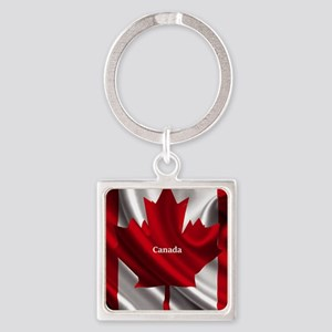 Canadian Flag Square Keychain