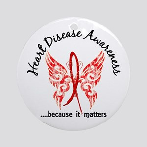 Heart Disease Butterfly 6.1 Ornament (Round)