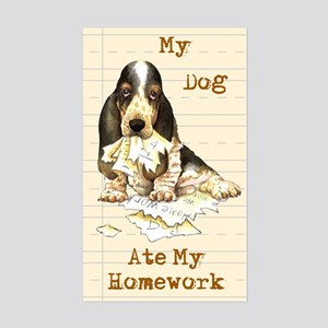 Basset Ate Homework Rectangle Sticker