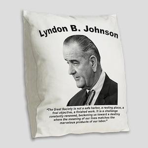 LBJ: Challenge Burlap Throw Pillow