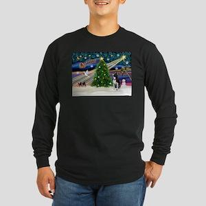 Xmas Magic/Boston Terrier Long Sleeve Dark T-Shirt