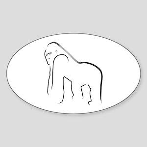 Silverback Gorilla Oval Sticker
