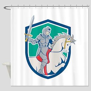 Knight Riding Horse Sword Cartoon Shower Curtain