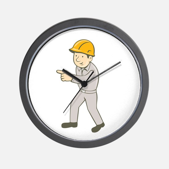 Builder Construction Worker Pointing Cartoon Wall