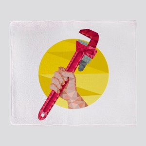 Hand Holding Wrench Circle Low Polygon Throw Blank