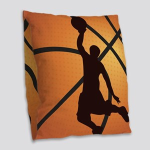 Basketball dunk Burlap Throw Pillow