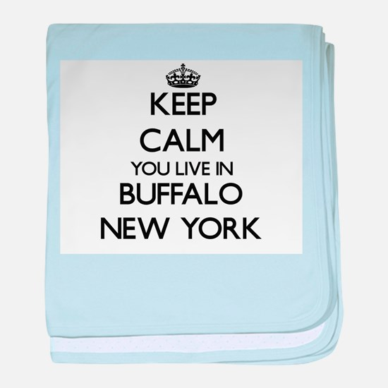 Keep calm you live in Buffalo New Yor baby blanket