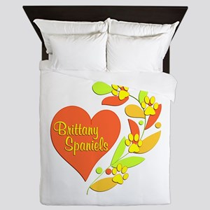 Brittany Spaniel Heart Queen Duvet