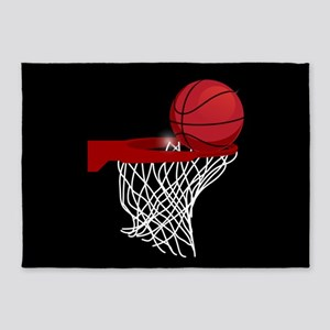 Basketball hoop and ball 5'x7'Area Rug