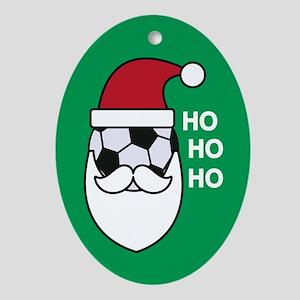 Santa Soccer Oval Ornament