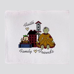 faith family friends Throw Blanket