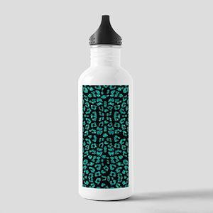 Aqua Blue Leopard Prin Stainless Water Bottle 1.0L