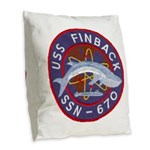 USS FINBACK Burlap Throw Pillow