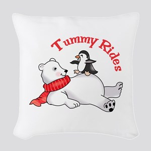 TUMMY RIDES Woven Throw Pillow