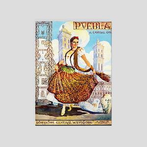 Puebla Mexico ~ Vintage Travel 5'x7'Area Rug