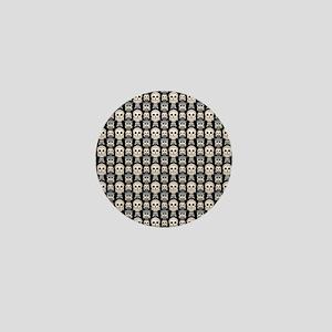 Cute Owl Pattern on Black Background Mini Button