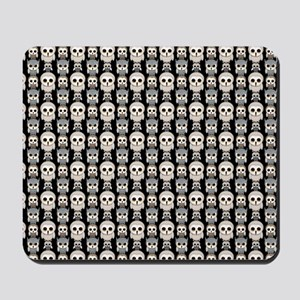 Cute Owl Pattern on Black Background Mousepad