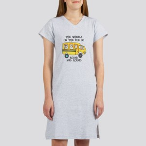 THE WHEELS ON THE BUS Women's Nightshirt
