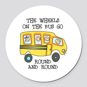 THE WHEELS ON THE BUS Round Car Magnet