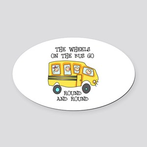 THE WHEELS ON THE BUS Oval Car Magnet