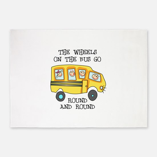 THE WHEELS ON THE BUS 5'x7'Area Rug