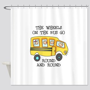 THE WHEELS ON THE BUS Shower Curtain