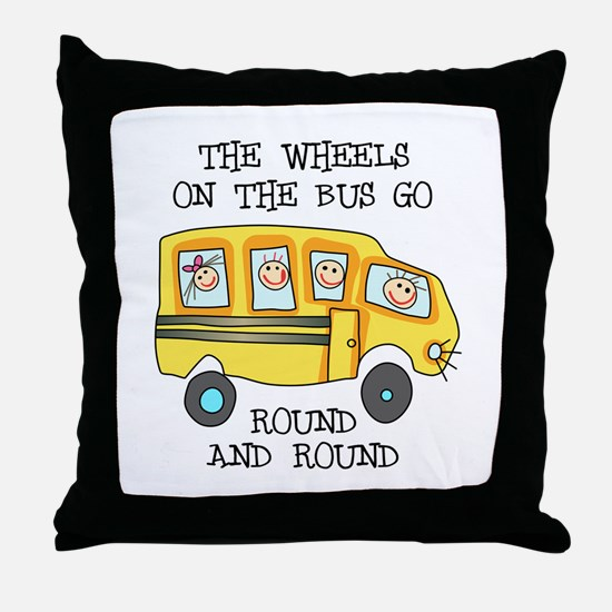 THE WHEELS ON THE BUS Throw Pillow