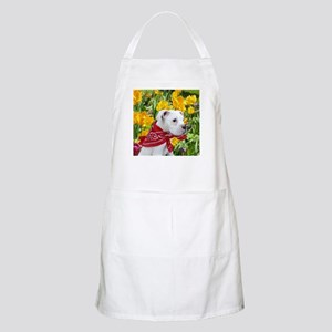 white boxer puppy in tulips Apron