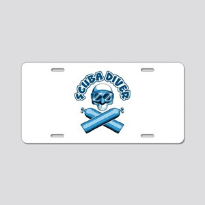 Scuba Diver Skull Aluminum License Plate