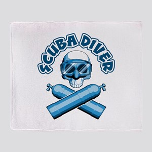 Scuba Diver Skull Throw Blanket