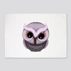 Cute Purple Spotted Owl Illustratio 5'x7'Area Rug
