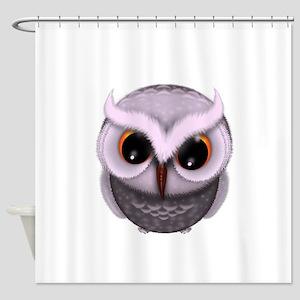 Cute Purple Spotted Owl Illustratio Shower Curtain
