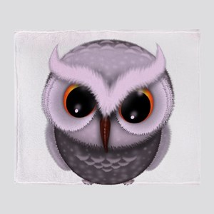 Cute Purple Spotted Owl Illustration Throw Blanket
