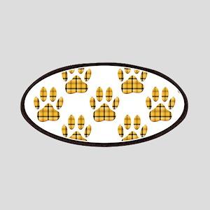 Dog Paw Print Tartan Pattern Patch