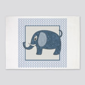 Blue Calico Baby Elephant with Blue 5'x7'Area Rug