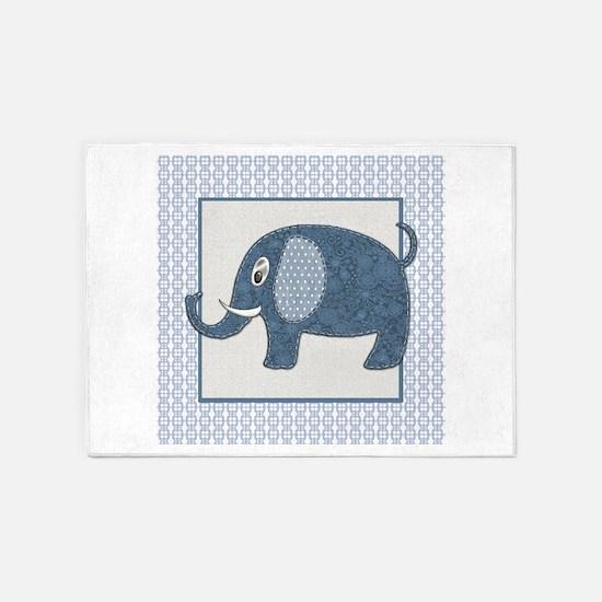 Blue Calico Baby Elephant with Blue 5'x7'Area Rug