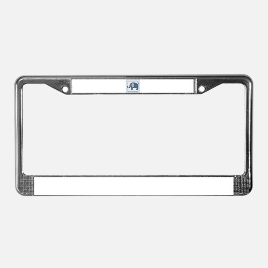Blue Calico Baby Elephant with License Plate Frame