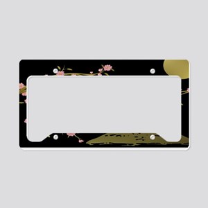 Pink Sakura Gold Black License Plate Holder