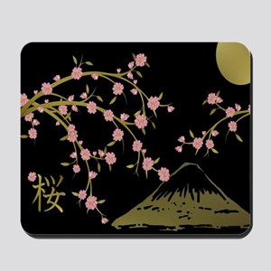 Pink Sakura Gold Black Mousepad