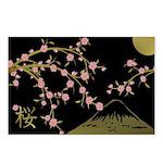 Pink Sakura Gold Black Postcards (Package of 8)