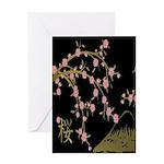 Pink Sakura Gold Black Greeting Cards