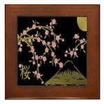 Pink Sakura Gold Black Framed Tile