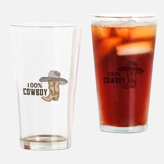 100% COWBOY Drinking Glass