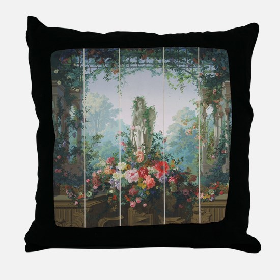 antique vintage garden painting Throw Pillow