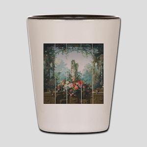 antique vintage garden painting Shot Glass