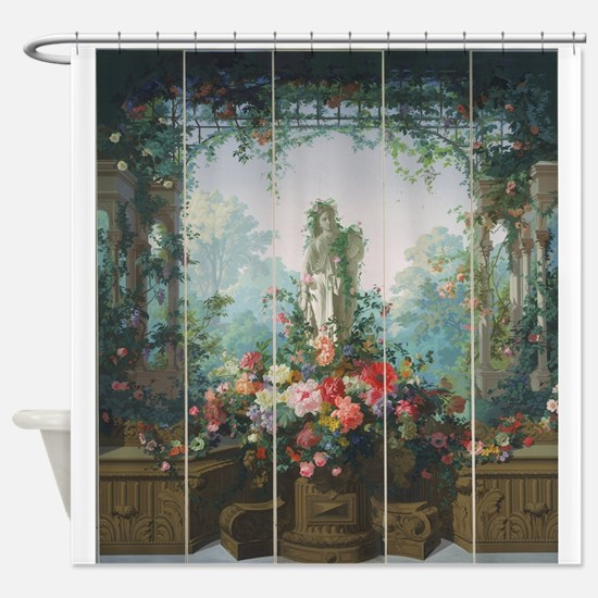 antique vintage garden painting Shower Curtain