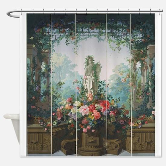 Antique Vintage Garden Painting Shower Curtain