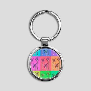 Palm Trees Round Keychain