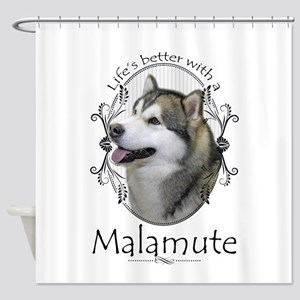 Life's Better Malamute Shower Curtain