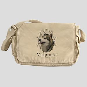Life's Better Malamute Messenger Bag